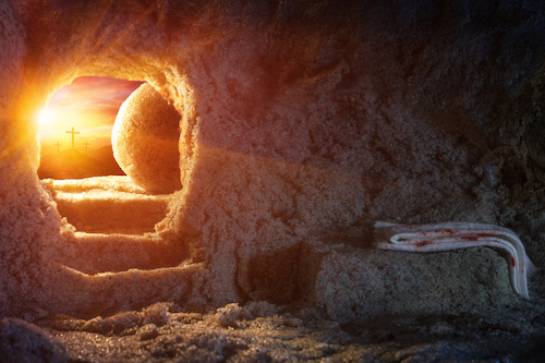 Empty Tomb Of Jesus With Burial Clothes